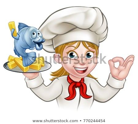 chef · poissons · puces · cartoon · plaque - photo stock © krisdog