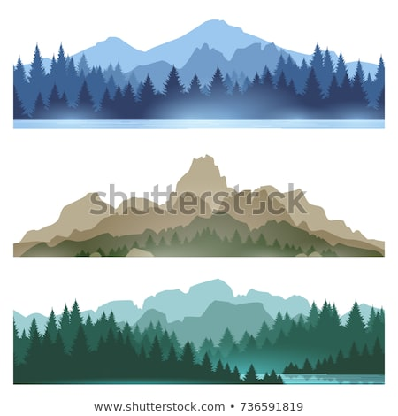 Set of Nature landscape backgrounds with silhouettes of mountains and trees. Vector Illustration. Stock photo © Leo_Edition