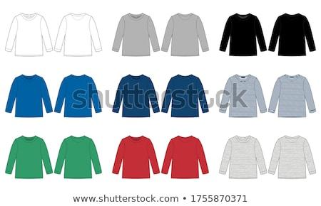 azul · a · rayas · lana · suéter · blanco - foto stock © ruslanomega