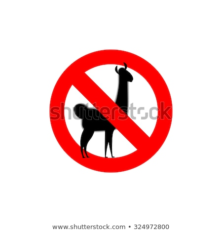 stop lama alpaca lama is forbidden frozen wild animal red for stock photo © popaukropa