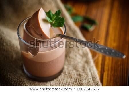 Ev yapımı çikolatalı mus çift gözlük çikolata cam Stok fotoğraf © mpessaris