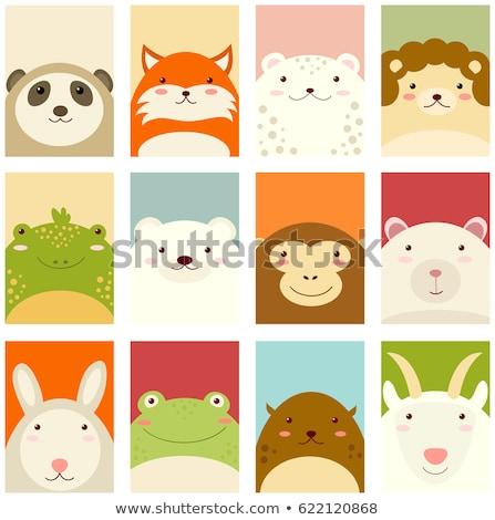 Szalag sablon aranyos állatok illusztráció tájkép háttér Stock fotó © bluering