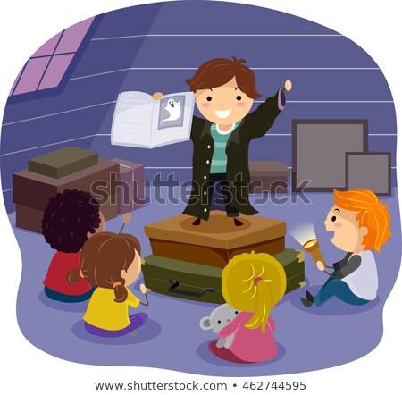 дети Scary история чердак иллюстрация детей Сток-фото © lenm