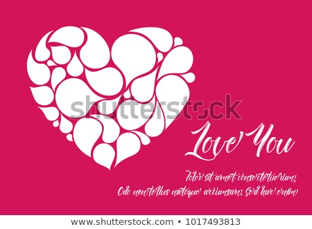 Minimalistic valentine card template with white heart made from droplet shapes Stock photo © orson