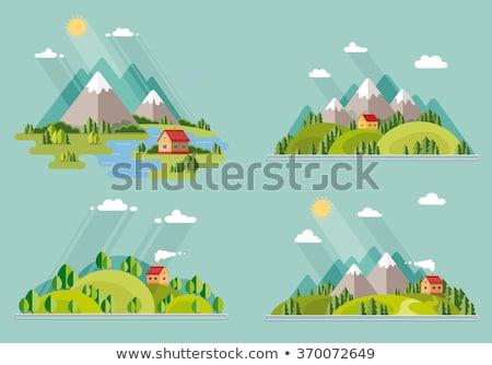 berg · dorp · verlicht · frans · avond · landschap - stockfoto © kotenko