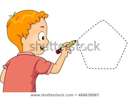 Kid мальчика след пятиугольник иллюстрация мало Сток-фото © lenm