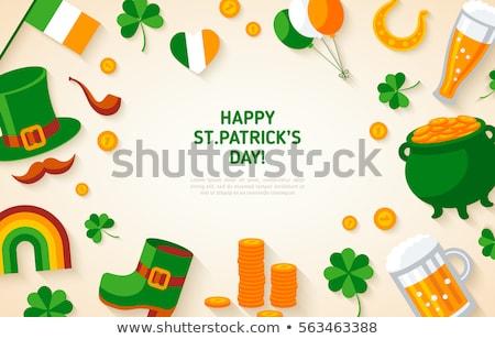 Stock fotó: Boldog · Szent · Patrik · napja · manó · kalap · szivárvány · felirat