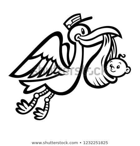 baba · fiú · házhozszállítás · gólya · kalap · hordoz - stock fotó © bluering