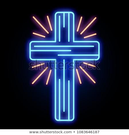 Hristiyan çapraz neon kilise duvar 3D Stok fotoğraf © stevanovicigor