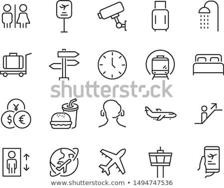 Passenger bus for plane boarding icon stock photo © studioworkstock