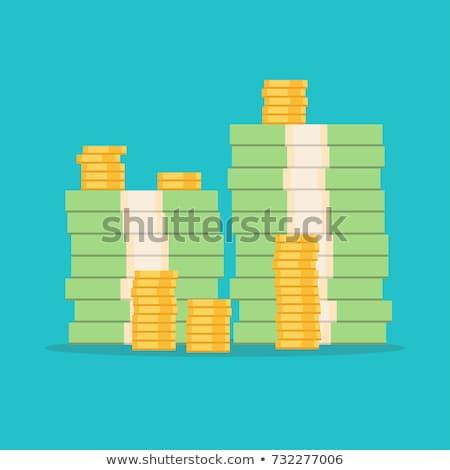 Nagy pénz boglya rajz stílus izometrikus Stock fotó © studioworkstock