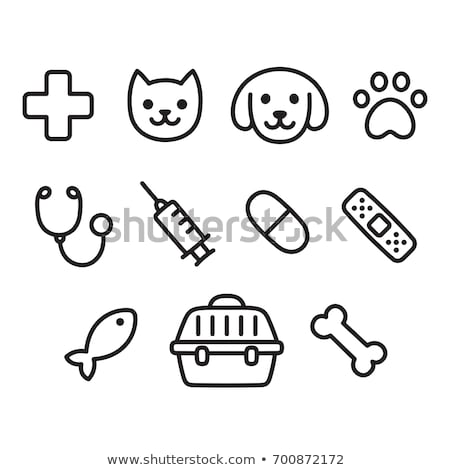 siringa · mano · disegnare · medicina · icona · blu - foto d'archivio © rastudio