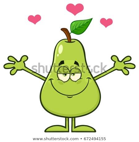 Glücklich Birne Obst green leaf Cartoon-Maskottchen Zeichen Stock foto © hittoon