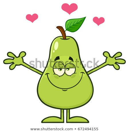 груши · фрукты · зеленый · лист · мультфильм · талисман · характер - Сток-фото © hittoon