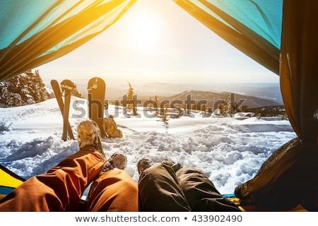 Tent winter ski silhouet vakantie Geel Stockfoto © IS2