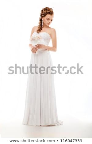 Stockfoto: Glimlachend · bruid · poseren · witte · jurk · geïsoleerd