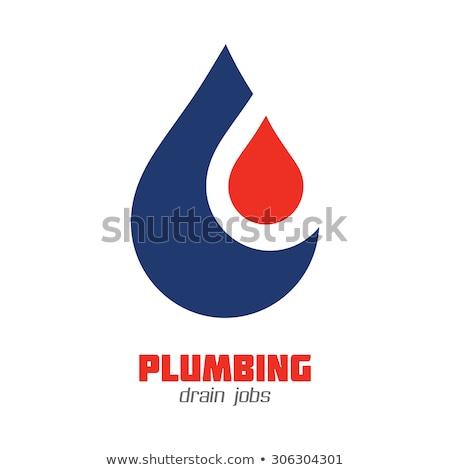 Fontanería signo gota de agua casa tuberías negocios Foto stock © djdarkflower