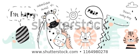 A Safari Girl With Happy Animal Stock photo © bluering