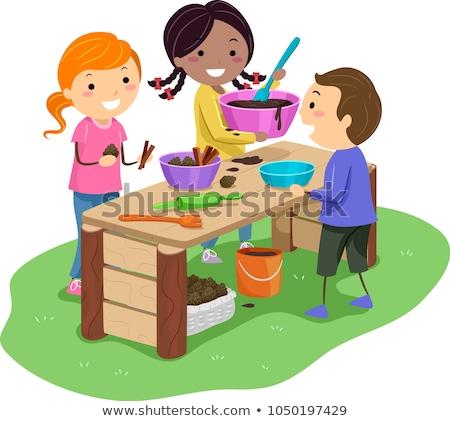 Criança menina lama torta ilustração Foto stock © lenm