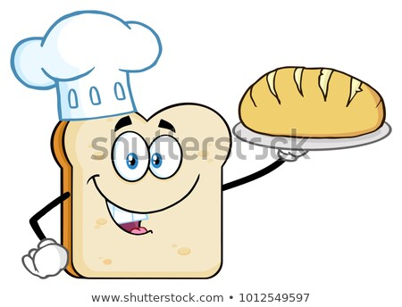Сток-фото: Chef Bread Slice Cartoon Character Presenting Perfect Bread
