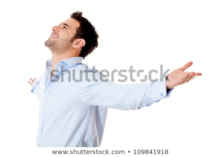 Successful business man with arms open - isolated over a white background Stock photo © Minervastock