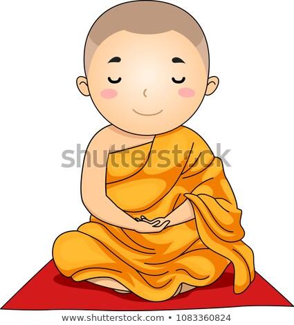 Criança menino monge meditação lótus posição Foto stock © lenm