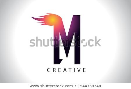 Magenta m betű alakú tűz ikon vektor Stock fotó © cidepix