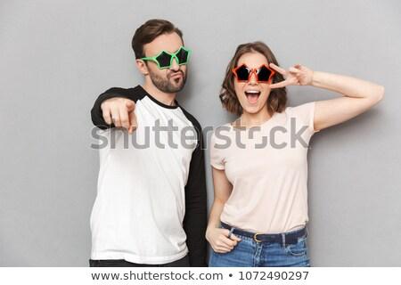 çekici · güneş · gözlüğü · kız · adam - stok fotoğraf © deandrobot