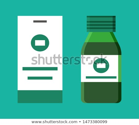 Herbal Tasty Syrup for Sore Throat in Glass Bottle Stock photo © robuart