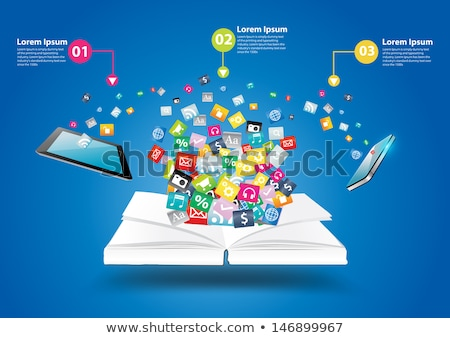 Zdjęcia stock: Smart Digital Library Concept - Tablet Computer And Open Book On