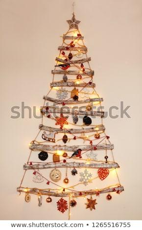 Abstrato troncos árvore de natal vermelho estrela bola Foto stock © marilyna