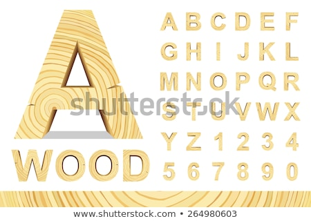 Wooden alphabet, Wood retro Font letters for Text Messages. Vector Stock photo © Andrei_