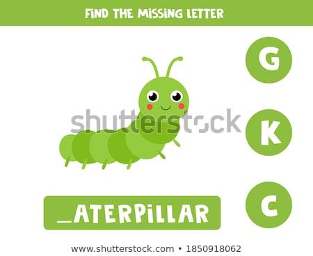 заклинание английский слово Caterpillar иллюстрация школы Сток-фото © bluering