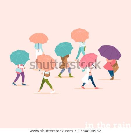 Emberek esernyő ősz esik az eső nap terv Stock fotó © Linetale