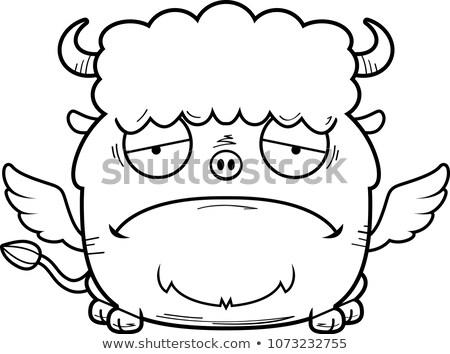 悲しい · 漫画 · バイソン · 実例 · 見える - ストックフォト © cthoman