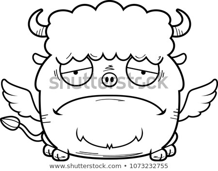 Cartoon triest buffalo wings illustratie jonge grafische Stockfoto © cthoman