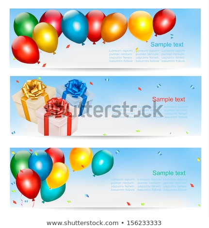 Happy Birthday banner with gift box, air balloons, gold ribbons Stock photo © MarySan