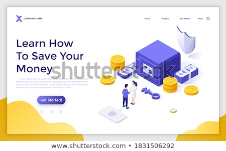 Finance protection - modern isometric vector web banner Stock photo © Decorwithme