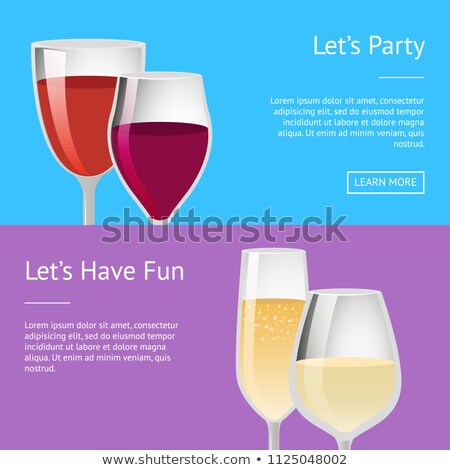 Lets Party and Have Fun Pair Glasses Wine Vector Stock photo © robuart