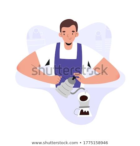 önt kávé rajzolt emberek betűk illusztráció izolált Stock fotó © Decorwithme