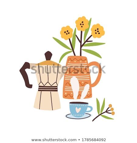 ilustración · tetera · taza · té · verde · vector · estilo - foto stock © robuart
