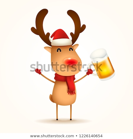 Ren geyiği bira yalıtılmış arka plan içmek kırmızı Stok fotoğraf © ori-artiste