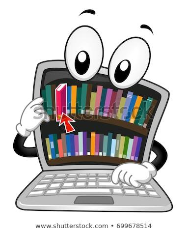 Stock photo: Digital Library Laptop Mascot Illustration