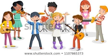 Cartoon teen ragazzo chitarra illustrazione Foto d'archivio © cthoman