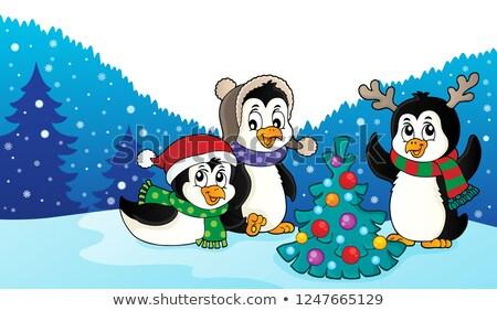Natal imagem feliz arte inverno aves Foto stock © clairev