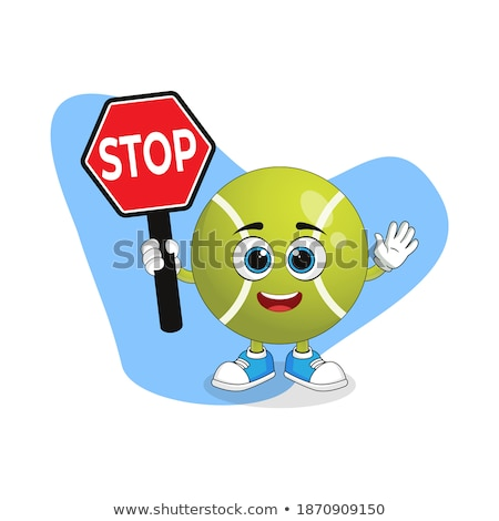 Funny Tennis Ball Cartoon Mascot Character Gesturing And Holding A Stop Sign. Stock photo © hittoon