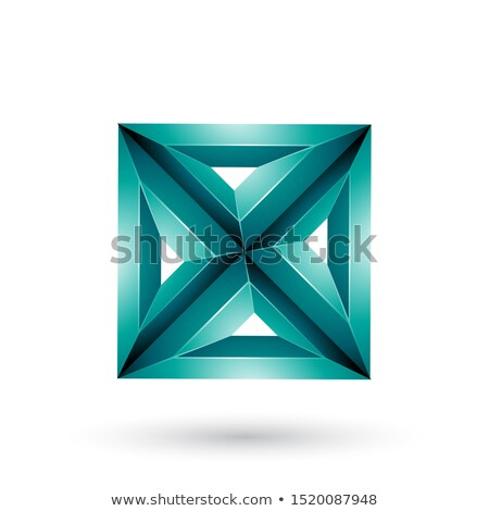 Persian Green 3d Geometrical Embossed Square and Triangle X Shap Stock photo © cidepix