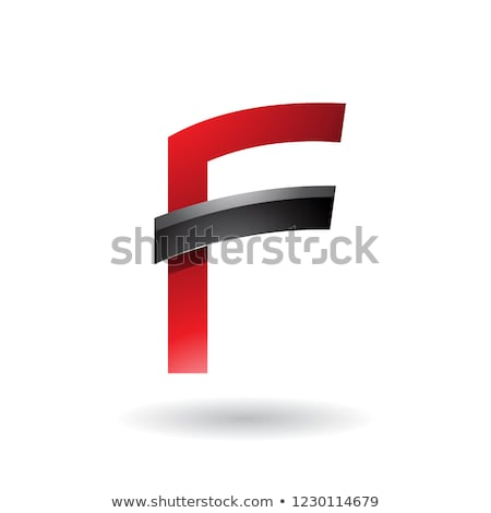 Red Letter F with Black Glossy Stick Vector Illustration Stock photo © cidepix