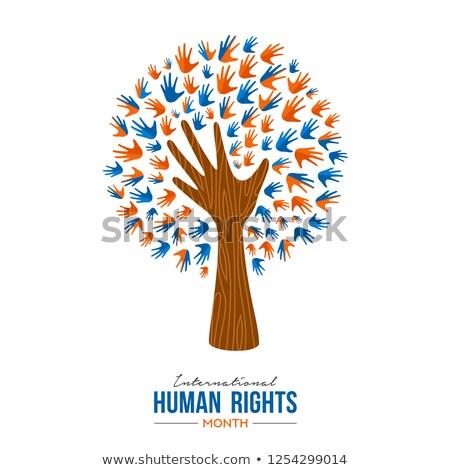 International Human Rights people hands tree Stock photo © cienpies