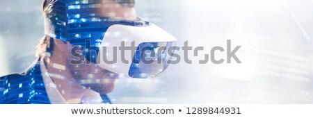 Közelkép üzletember virtuális vetítés építészet technológia Stock fotó © dolgachov